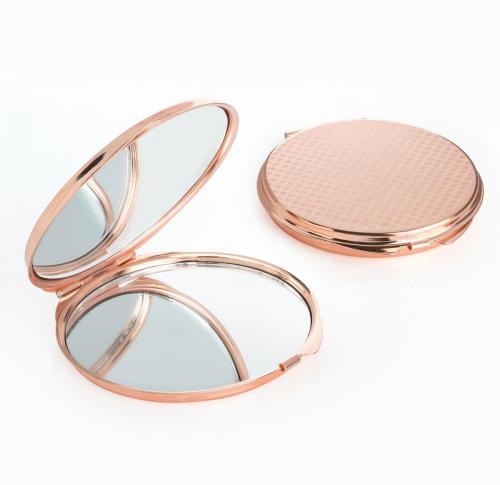 Rose Gold Compact Mirror Round