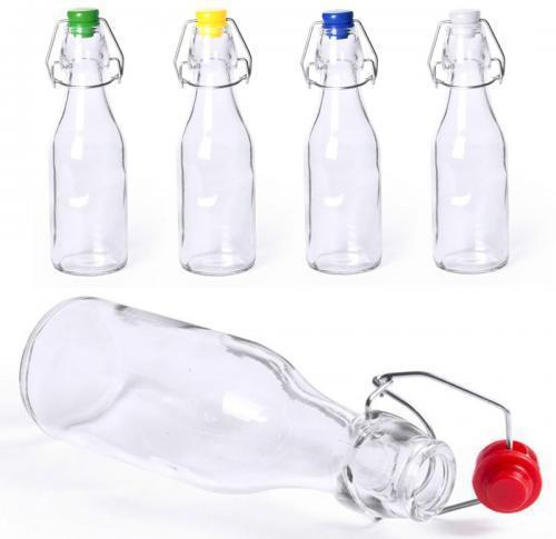 Tall Swing Glass Water Bottle With Grolsch Style Metal Closure 260ml