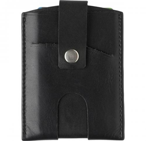 Split leather RFID credit card wallet