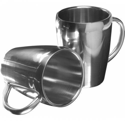Set Of Two Stainless Steel Mugs 200ml
