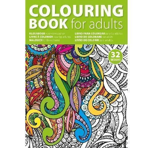A4 Adults Colouring Book With 64 Designs On 32 X 250gsm Pages