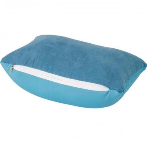 Travel pillow with polyfoam beads and soft suede fabric.