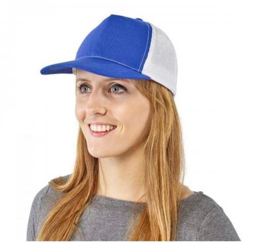Polyester and mesh five panel baseball cap with Velcro fastening.
