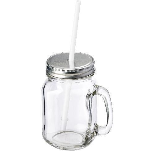 Glass Drinking Jar With Aluminium Lid And Plastic Straw