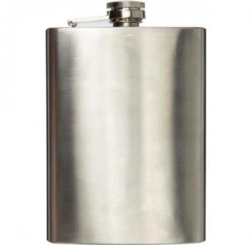 Stainless steel hip flask (320 ml) with screw cap.
