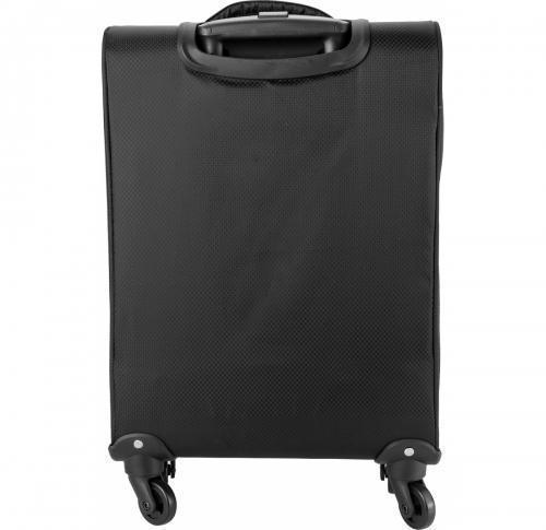 420 Jacquard light weight trolley with 4 wheels- an aluminium extendable handle- two front  soft padded zipped pockets