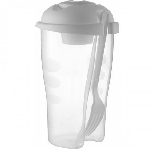 Salad container with cup and fork