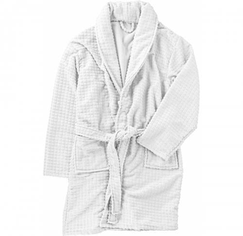 Polyester wellness set with waffle design bathrobe -  wash cloth  - pair of anti-slip slippers