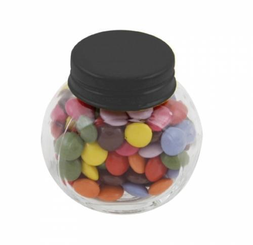 Small glass jar with 30gr of chocs
