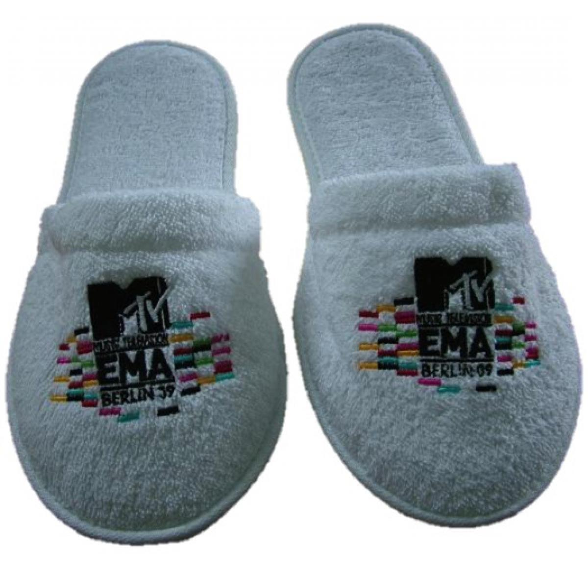 Closed Toe Towelling Spa / Hotel Slippers Embroidered