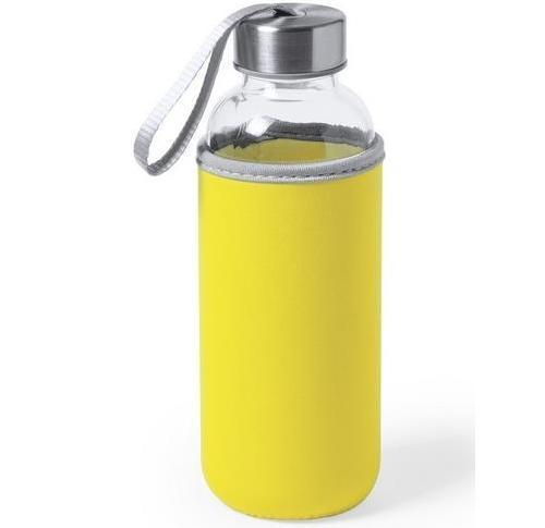 Glass Water Bottle With Thermal Case And Loop Handle 450ml
