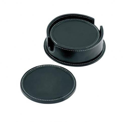 Sandringham Nappa Leather Round Coaster Set