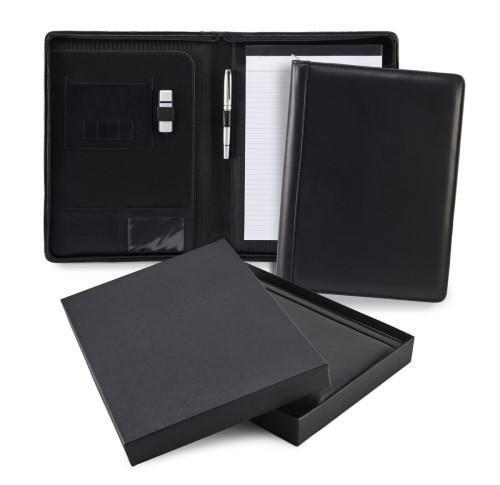 Black Sandringham Leather Zipped A4 Conference Pad Holder