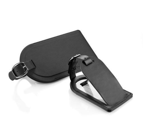 Small Black Leather Luggage Tag With Security Flap