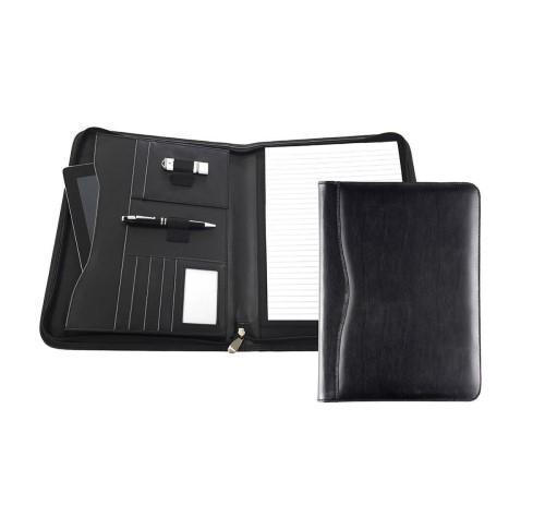 Black Balmoral Leather A4 Deluxe Zipped Conference Folder With Tablet Pocket