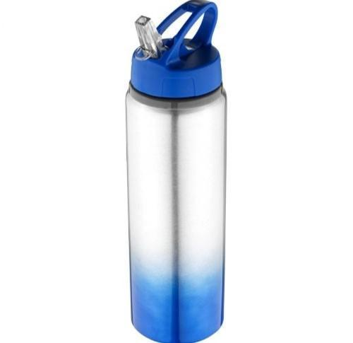 Aluminium Water Gradient Sports Water Bottle 740ml With Flip Straw